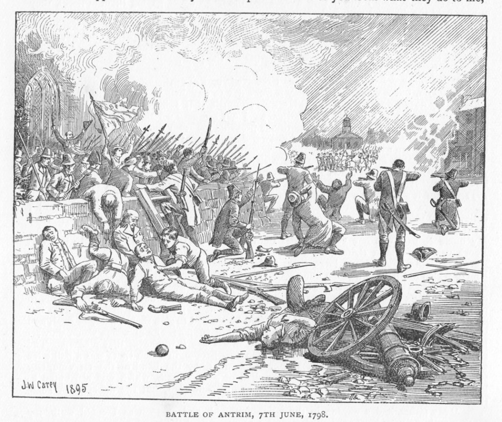 The Battle of Antrim, 1798. From Historical Notices of Old Belfast (1896), p. 194