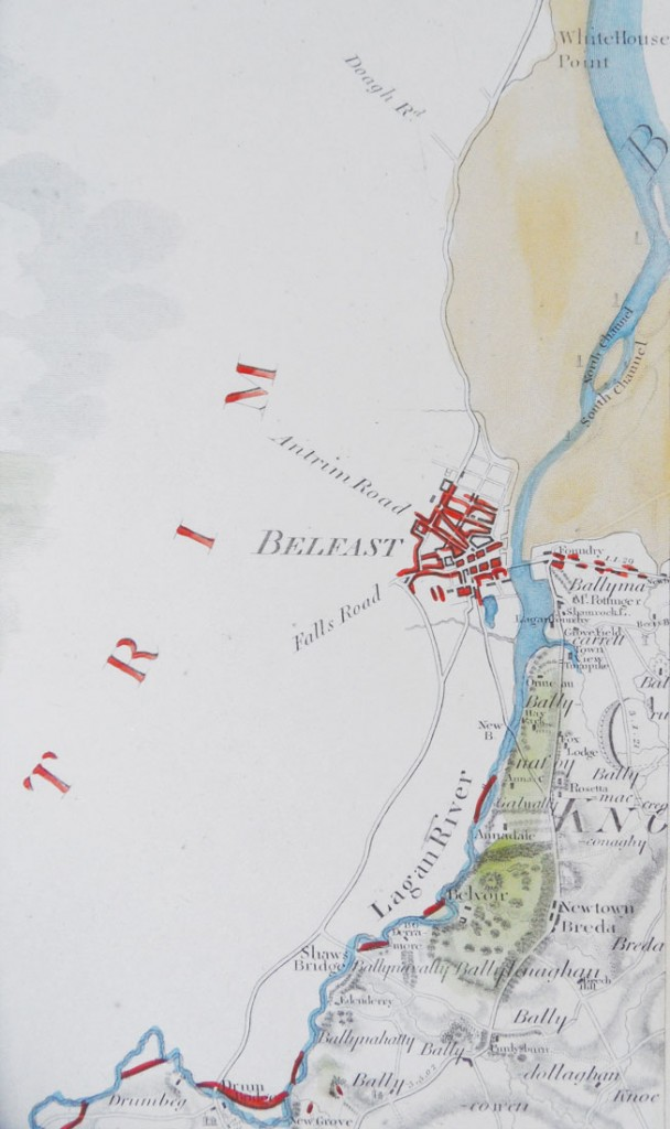 Detail from A Map of the County of Down taken from Actual Survey by James Williamson (1810) showing the road to Doagh