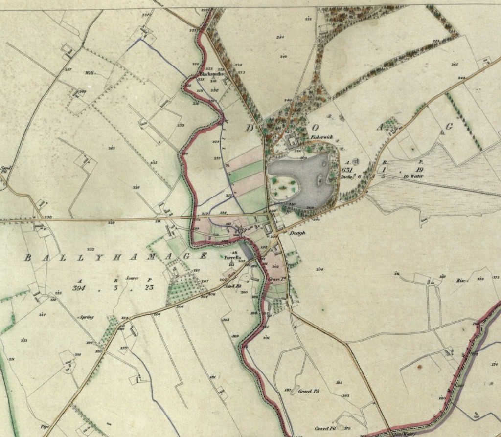 First Ordnance Survey map of Doagh, 18XX (click to enlarge)