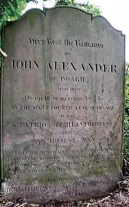 John Alexander's headstone, Kilbride graveyard
