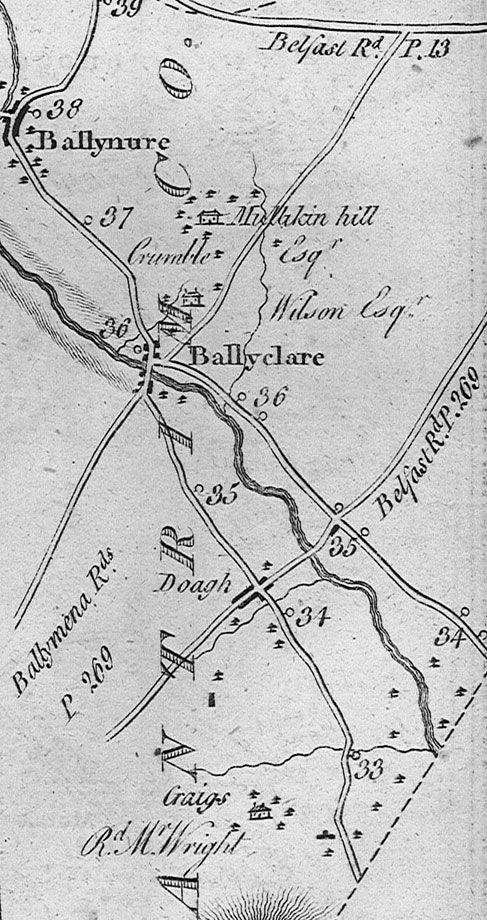 The road network around Doagh from Taylor and Skinner, Maps of the Roads of Ireland (1778)