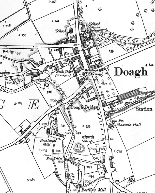 Ordnance Survey map of Doagh, 1902