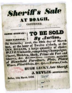 Sale of items from Farrell's inn (PRONI, D471/37)